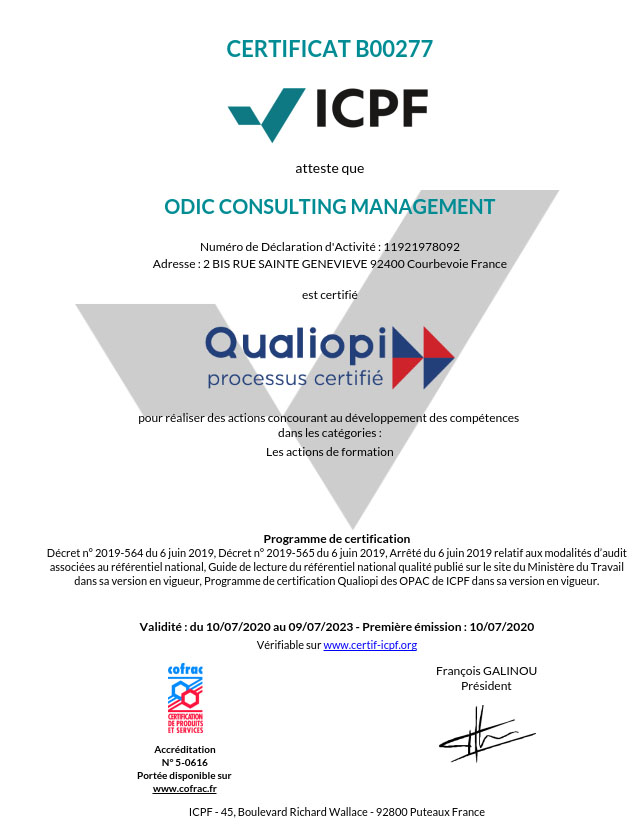 Certificat Qualiopi Odic Consulting Management